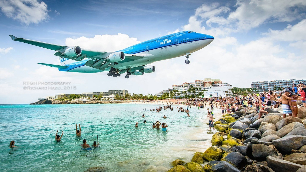 A plane over Maho beach in St Martin
