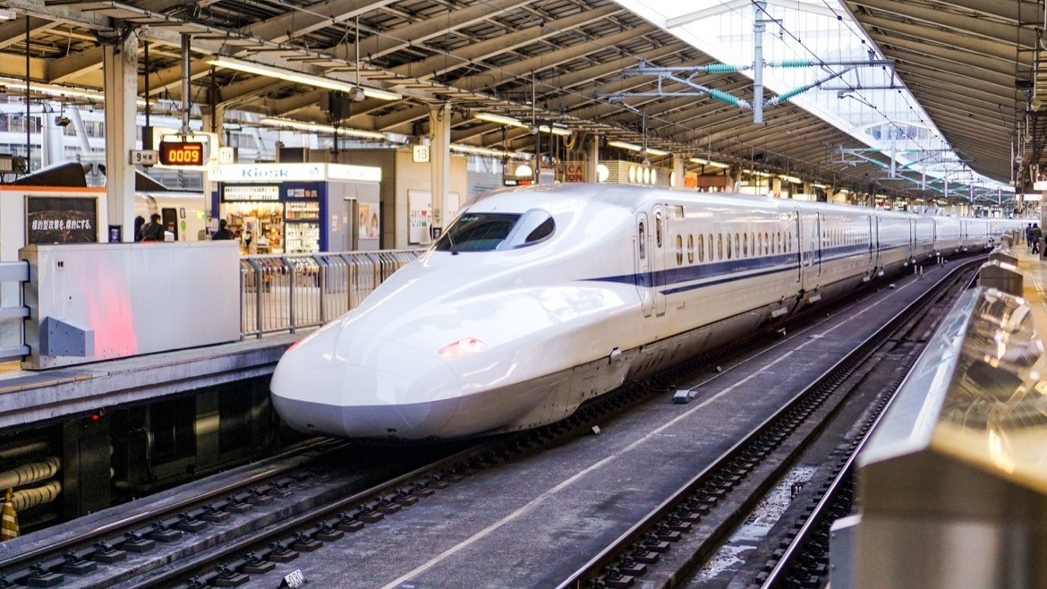 A shinkansen train in Japan