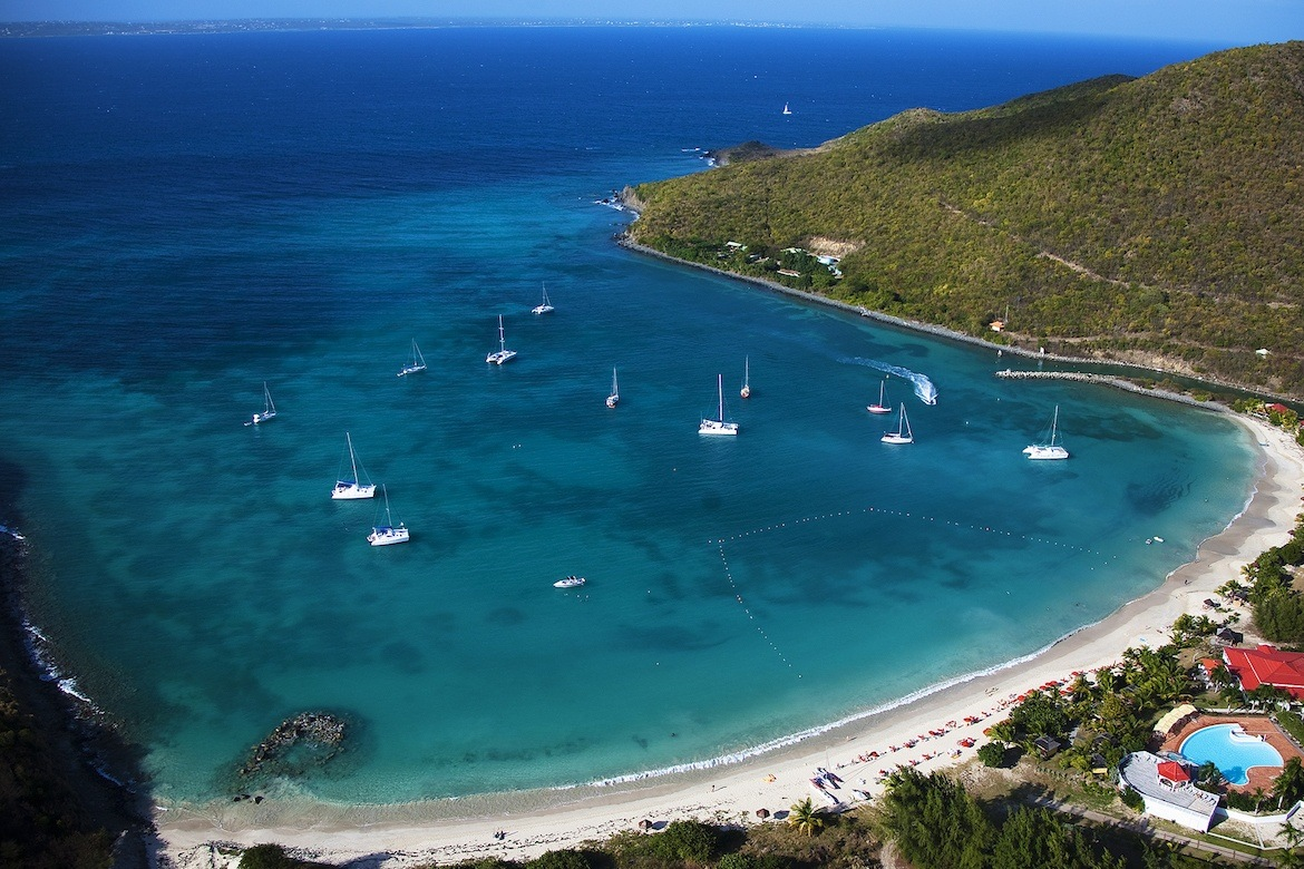 A beach and harbour in Saint Maarten