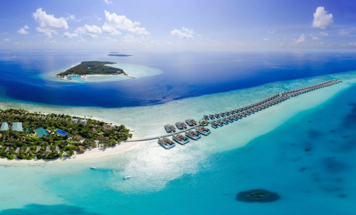 An aerial view of a resort in the Maldives