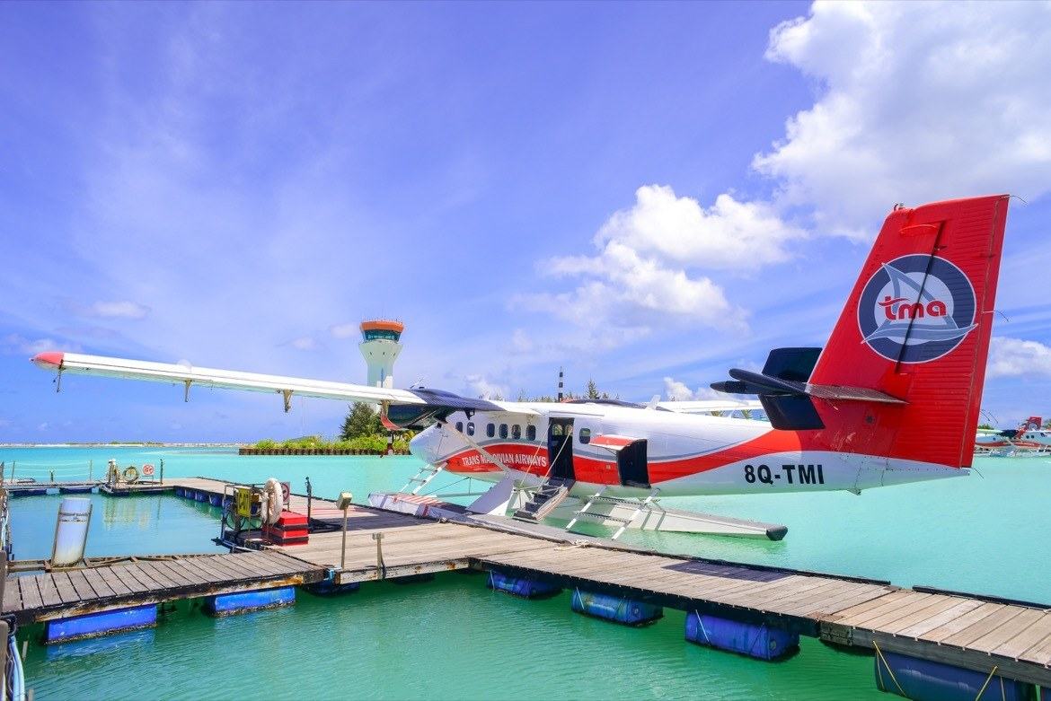 A seaplane in the Maldives