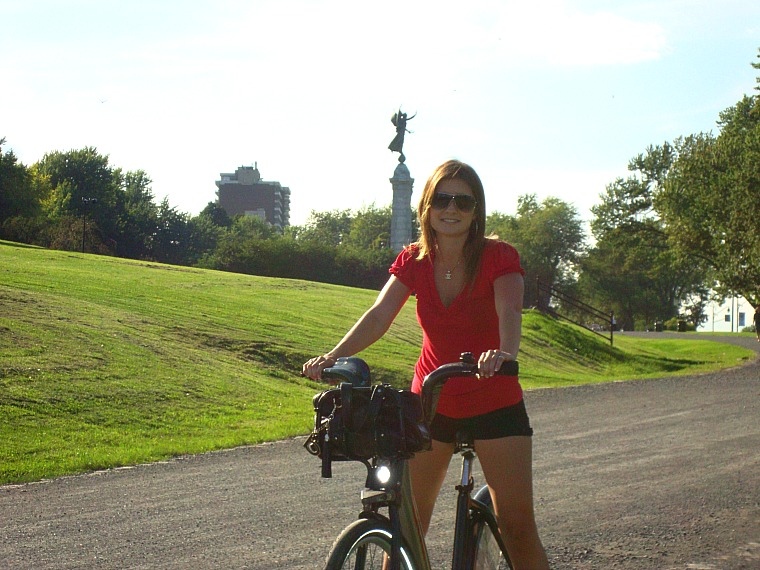 Enjoying the BIXI bike in Montreal.