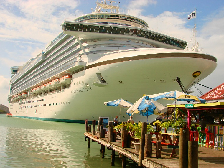 A cruise ship docked in Antigua.
