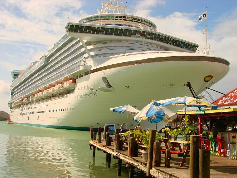 A cruise ship docked in Antigua.