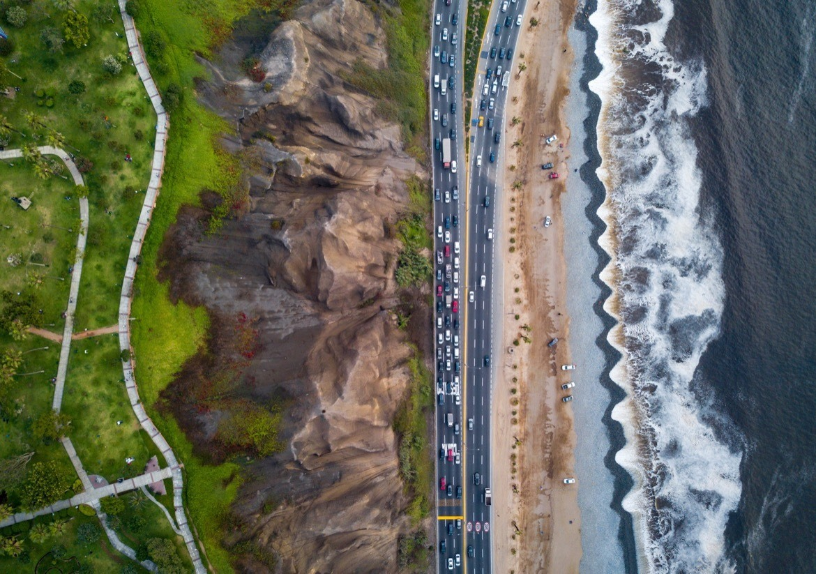 The Costa Verde highway near the beach in Lima