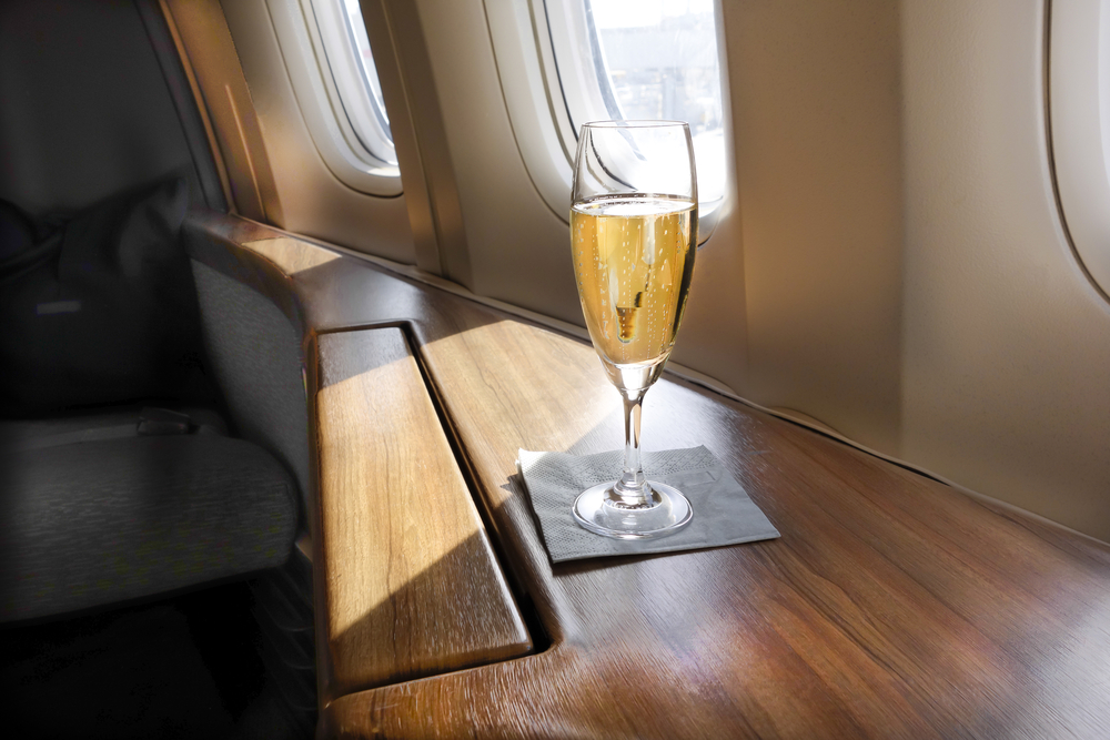 champagne first class jet
