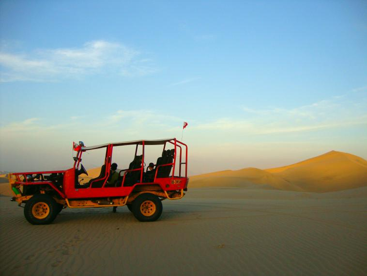 Sand dunes in Huacachina, Peru.