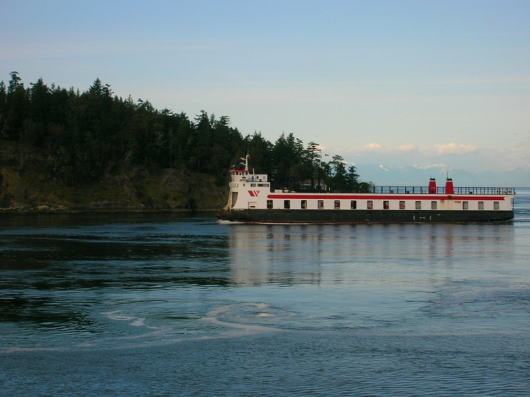 A ferry off the coast of Victoria, B.C.