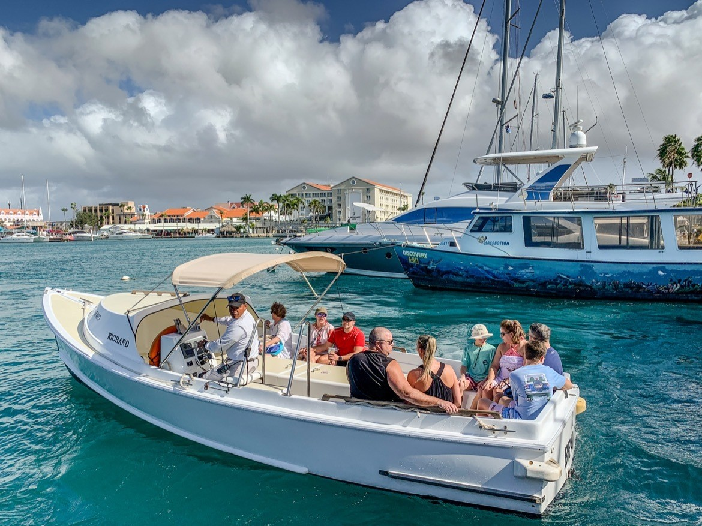The boat to Renaissance Private Island in Aruba