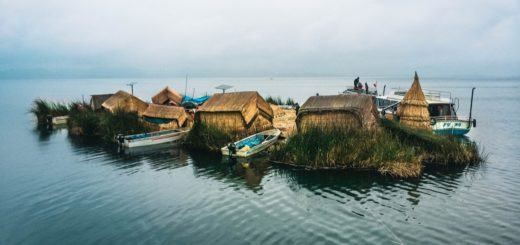 The Uros floating islands in Peru