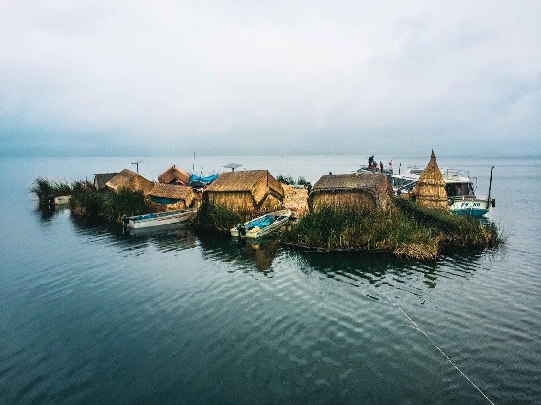 The Uros floating islands in Peru