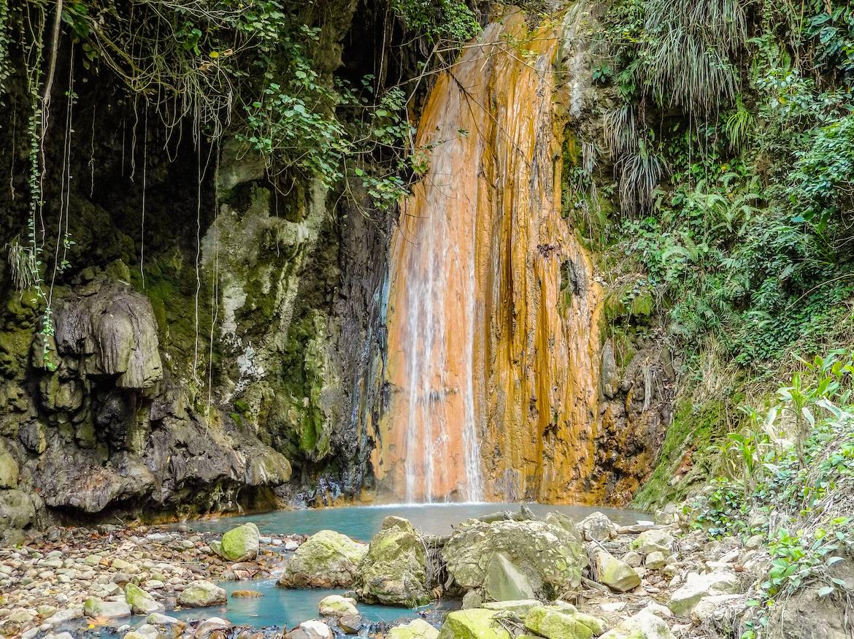 The Diamond Falls Waterfall in Saint Lucia