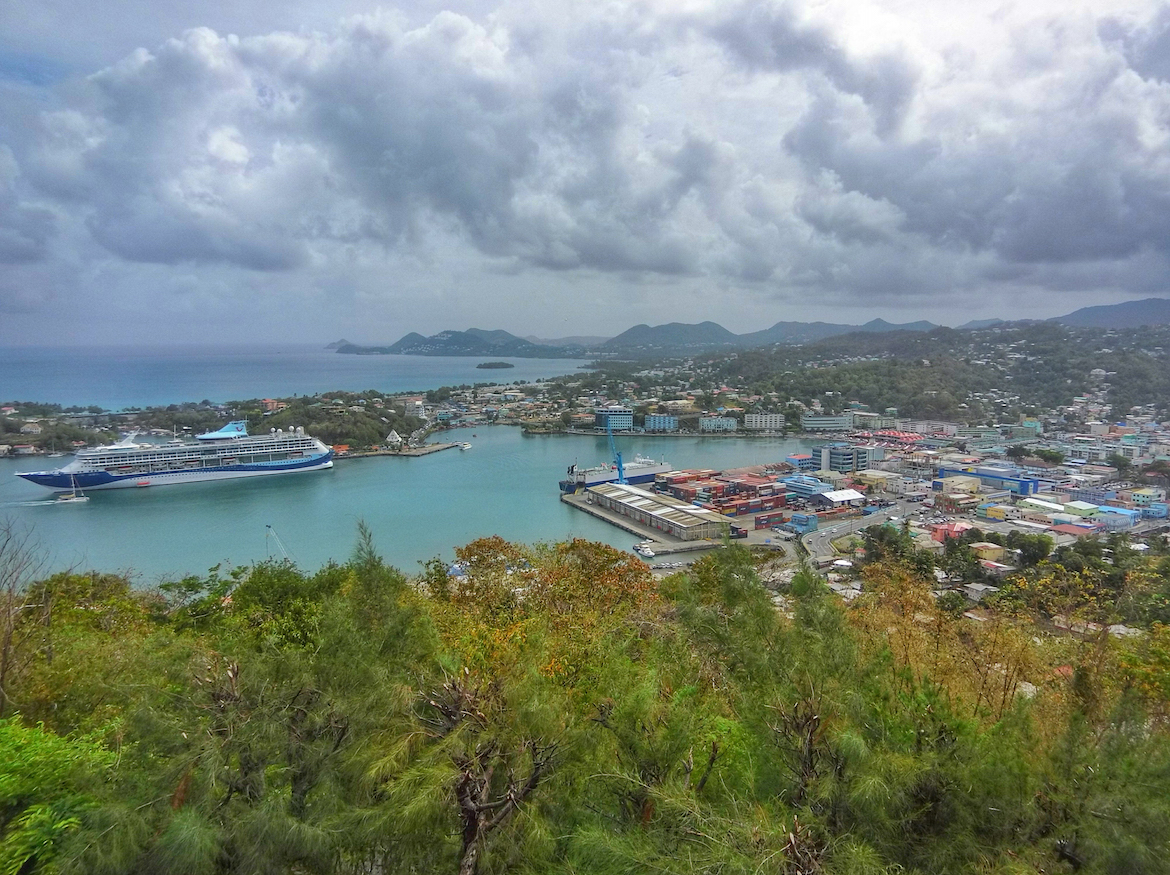 A cruise ship in the harbour in Castries, Saint Lucia