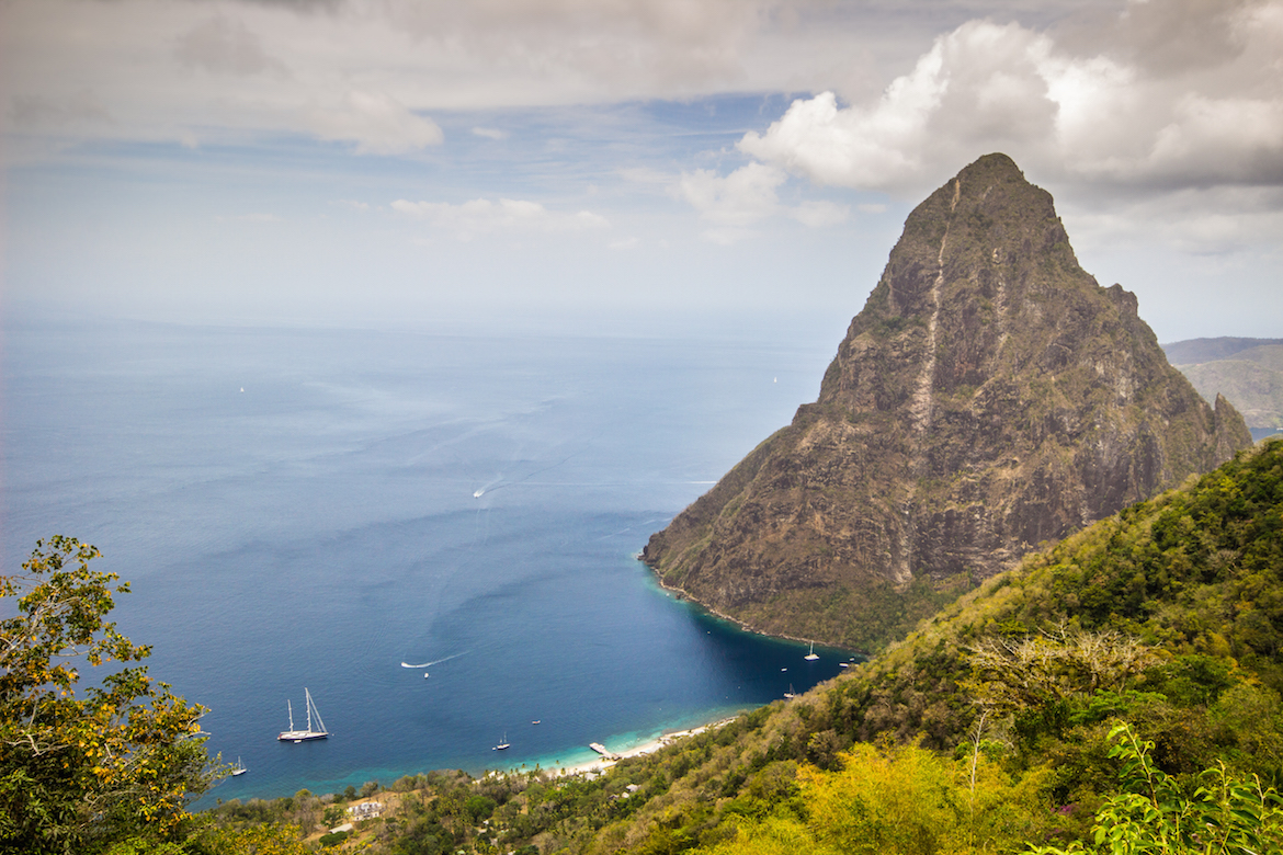 The Pitons as seen from Tet Paul Nature Trail in Saint Lucia