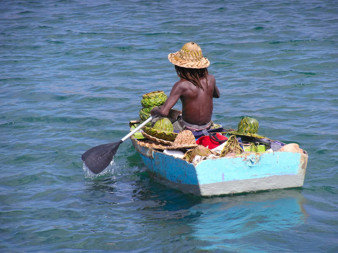 A man in a rowboat in St Lucia