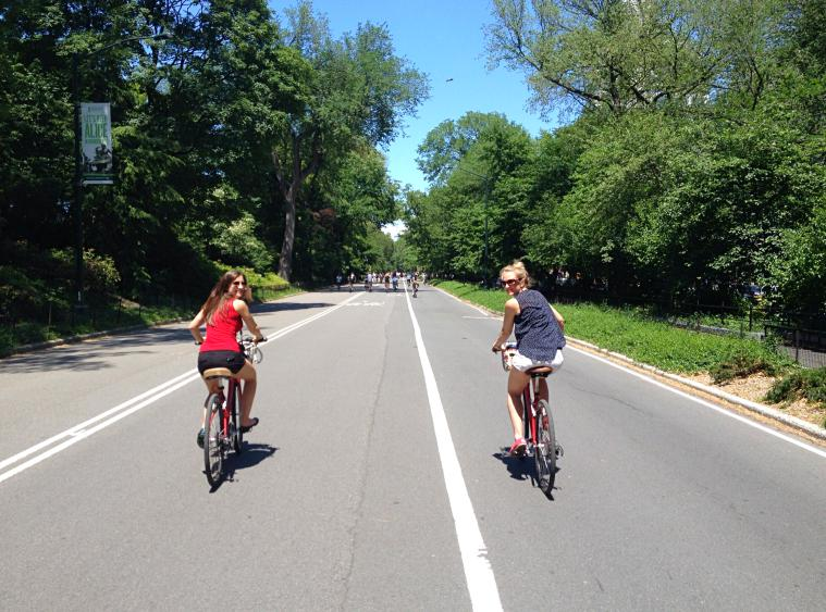 Bike riding in Central Park.