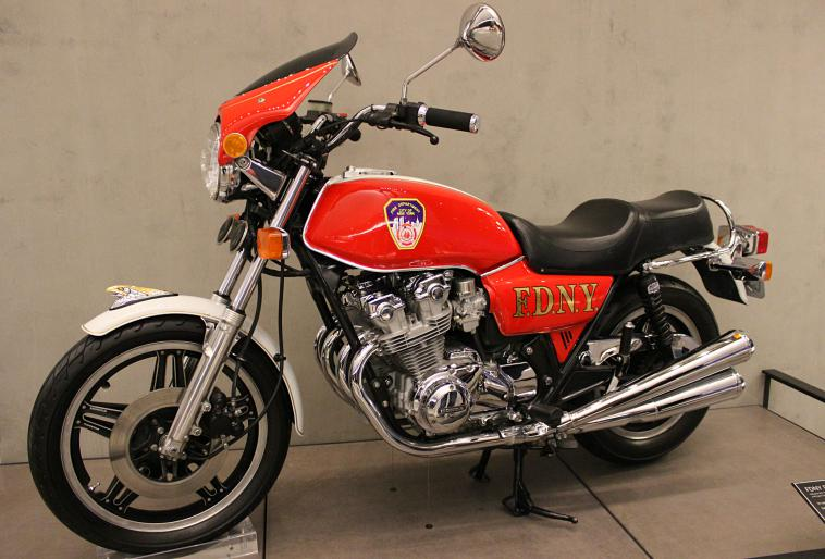 This motorcycle was restored in honour of a fallen firefighter.