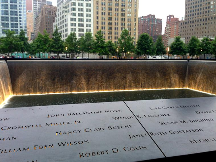 Ground Zero at the World Trade Center Memorial.