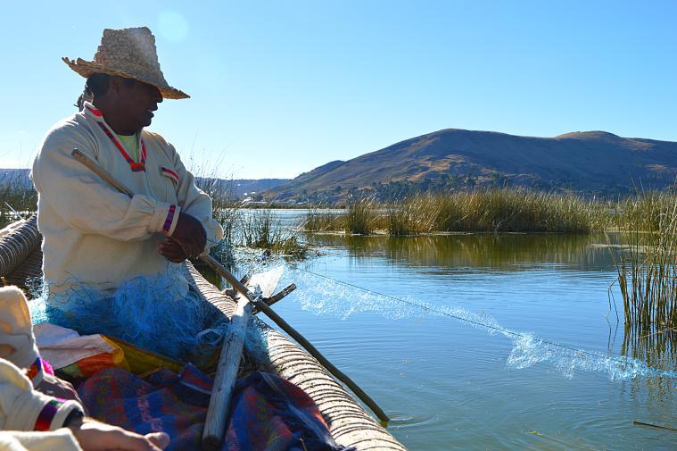 Viktor demonstrates how he fishes. uros
