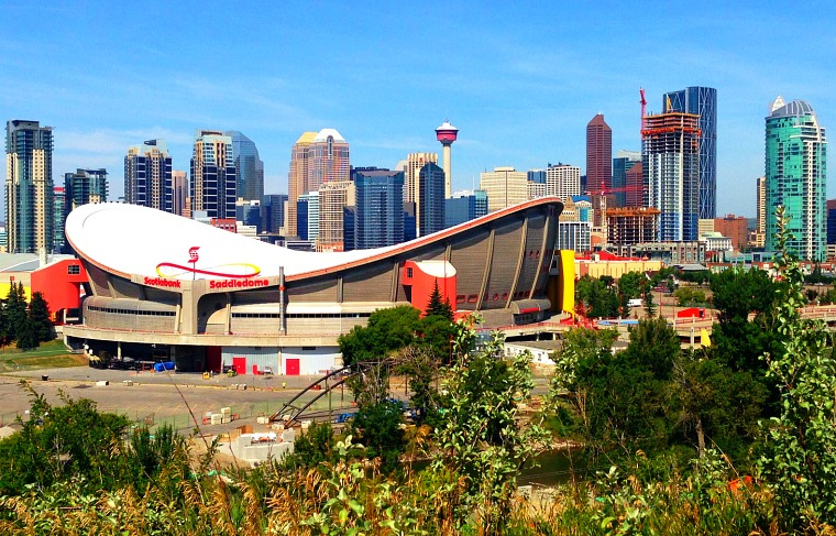 The downtown Calgary skyline as seen from Scotsman's Hill.
