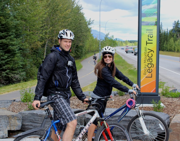 Cycling the Legacy Trail between Banff and Canmore, Alberta