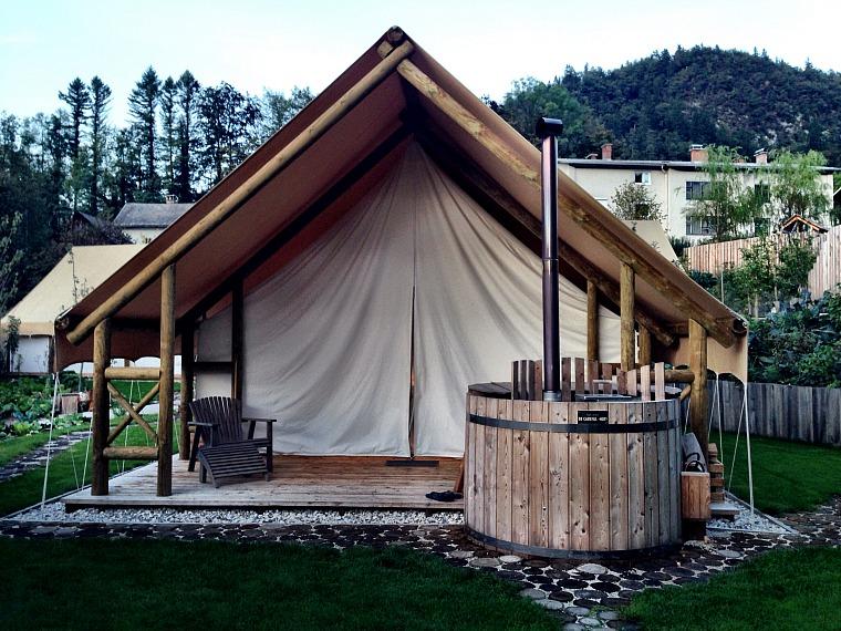 A glamping tent at Garden Village. slovenia