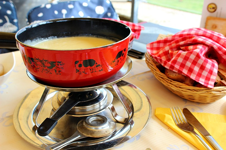 Delicious cheese fondue in Switzerland.
