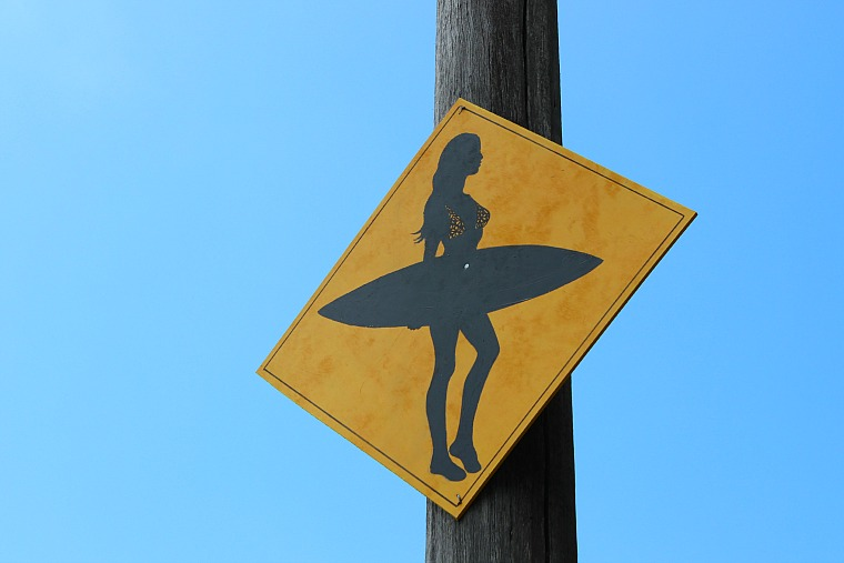 A funny surfing sign in manly beach