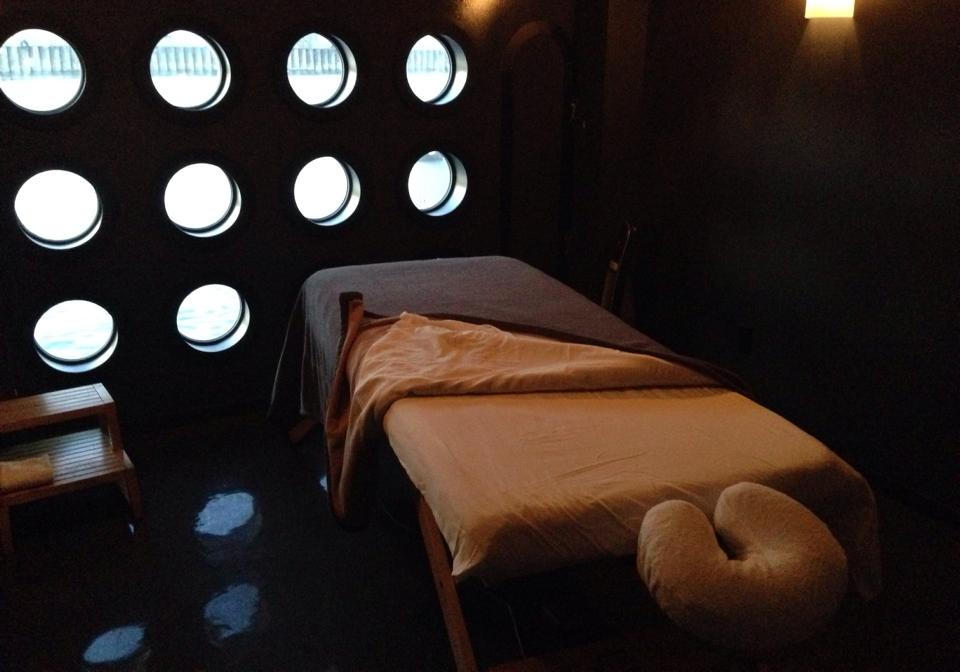 A massage room at Bota Bota- complete with portholes!