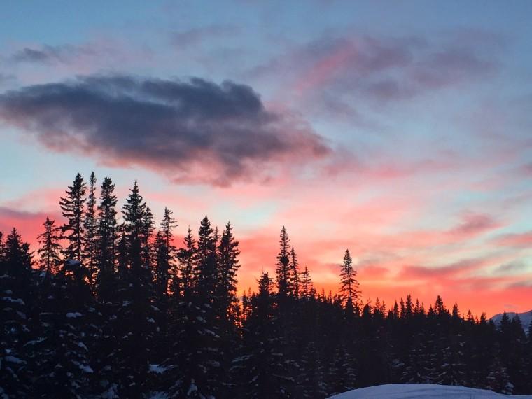 A sunset in Banff, Alberta