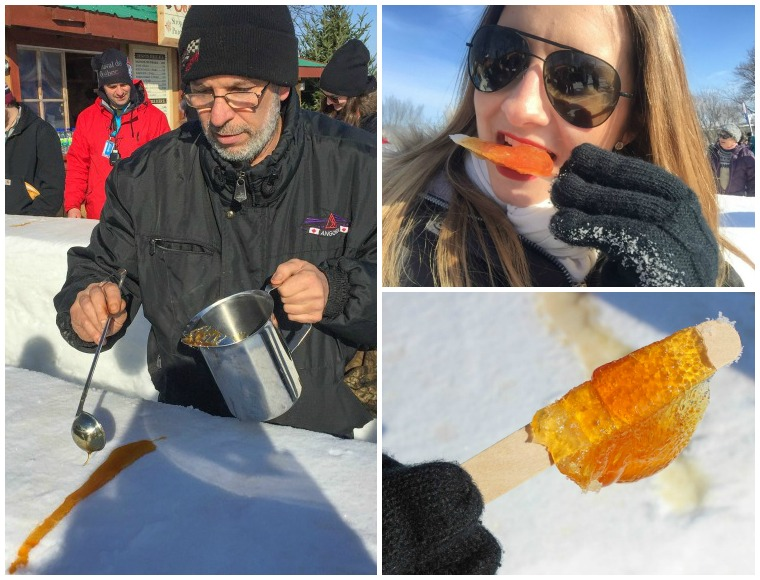 Maple taffy at the Quebec Winter Carnival
