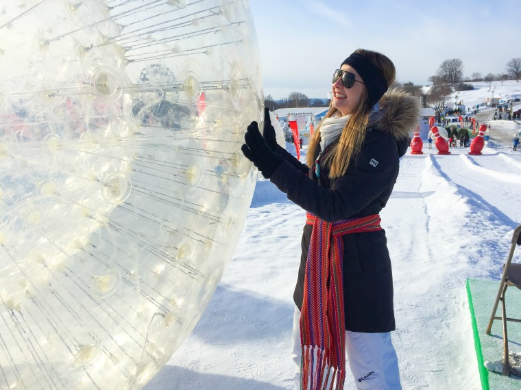 A zorb at the Quebec Winter Carnival