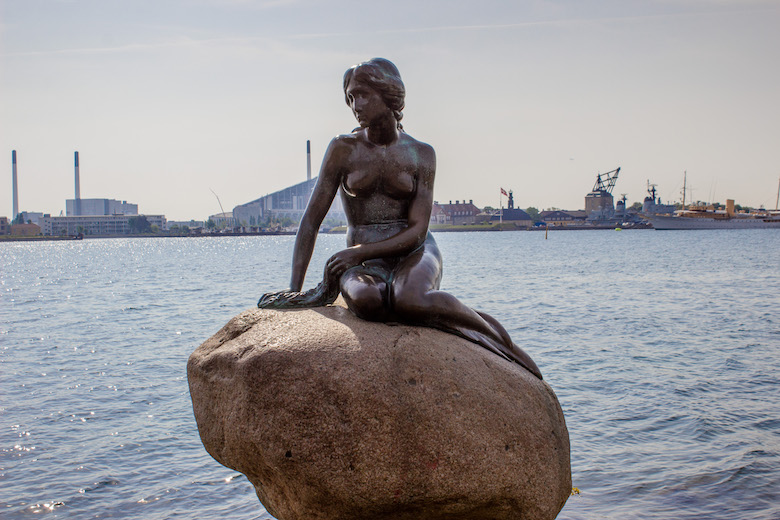 The Little Mermaid statue in Copenhagen, Denmark