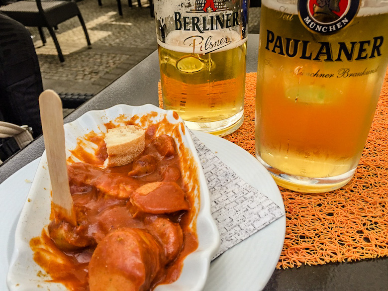Beer and currywurst. Berlin, Germany