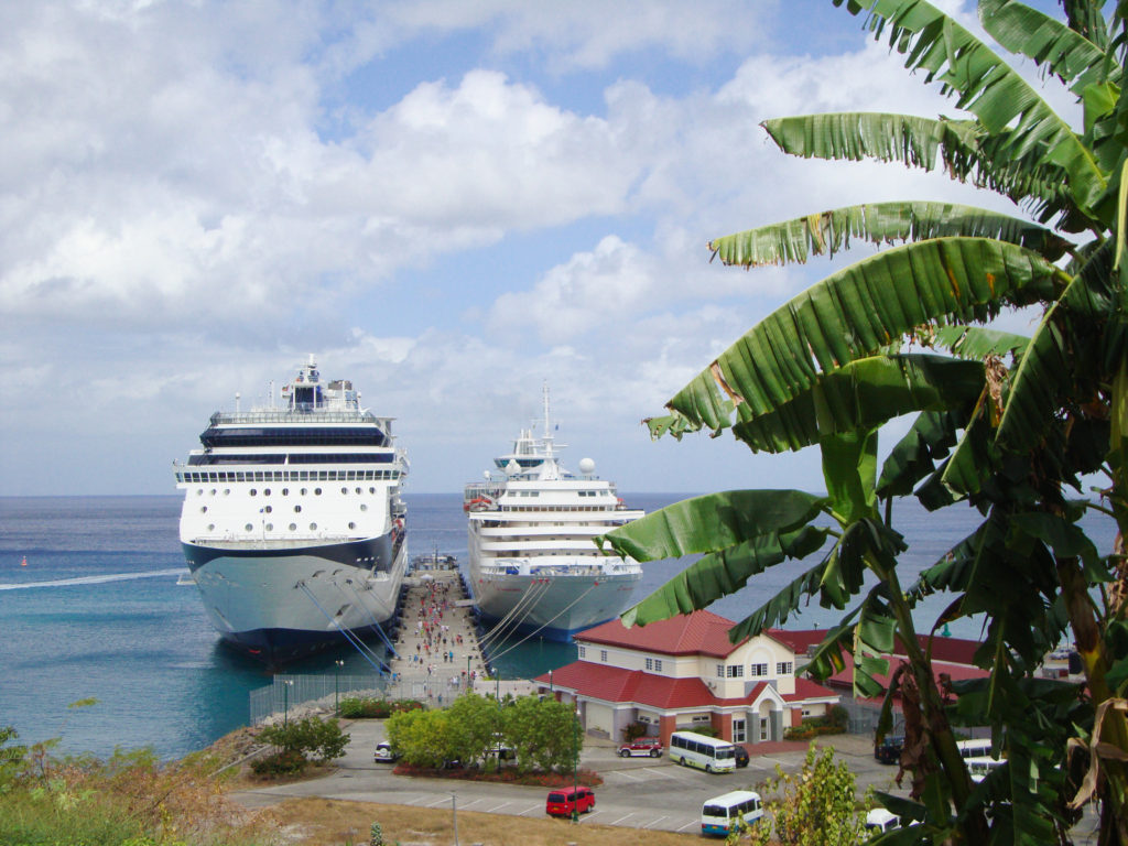 Cruise ships docked in Dominica