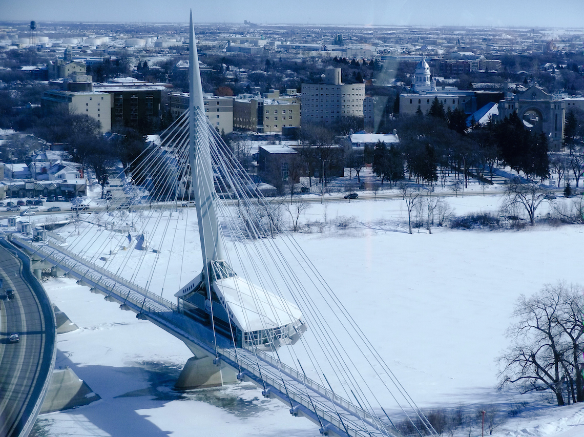 The view from the top of the Canadian Museum of Human Rights. Things to do in Winnipeg in winter