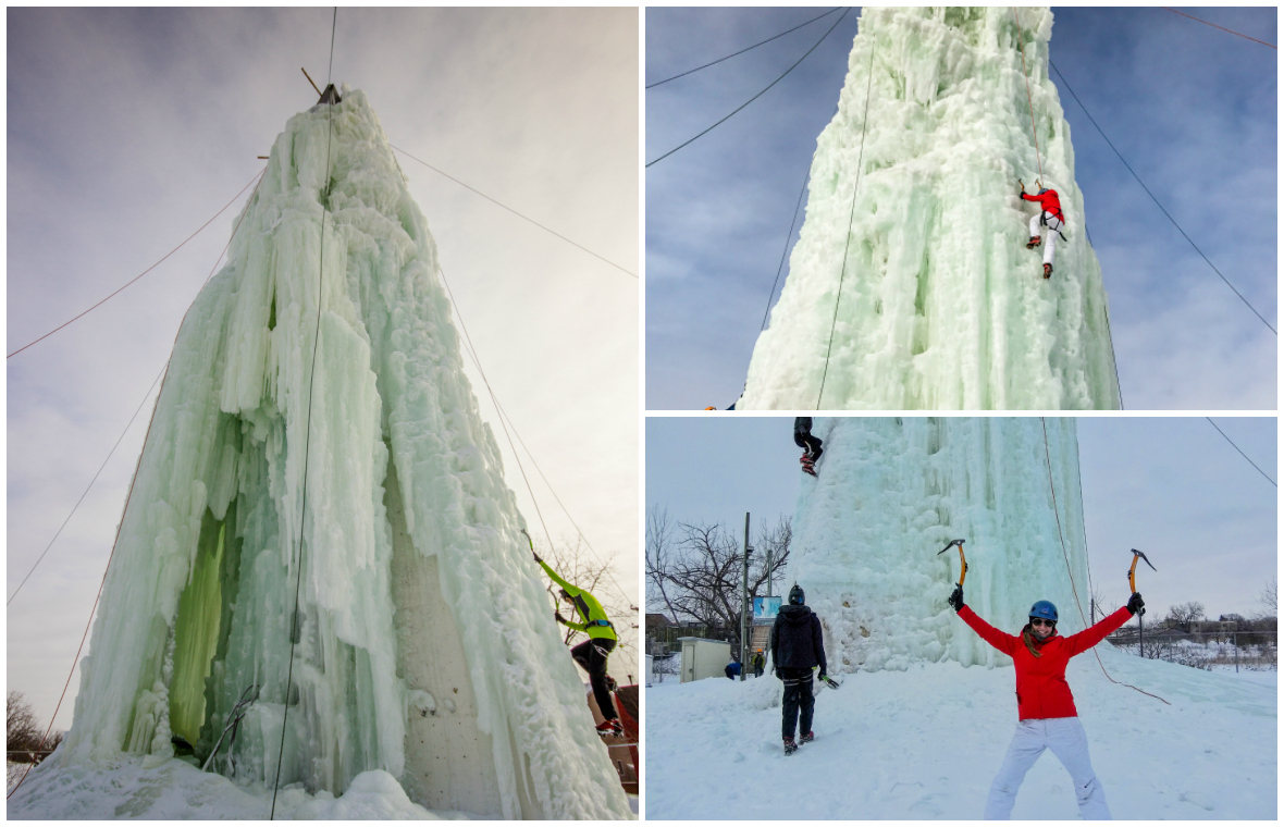 The ice climbing tower in winnipeg, manitoba