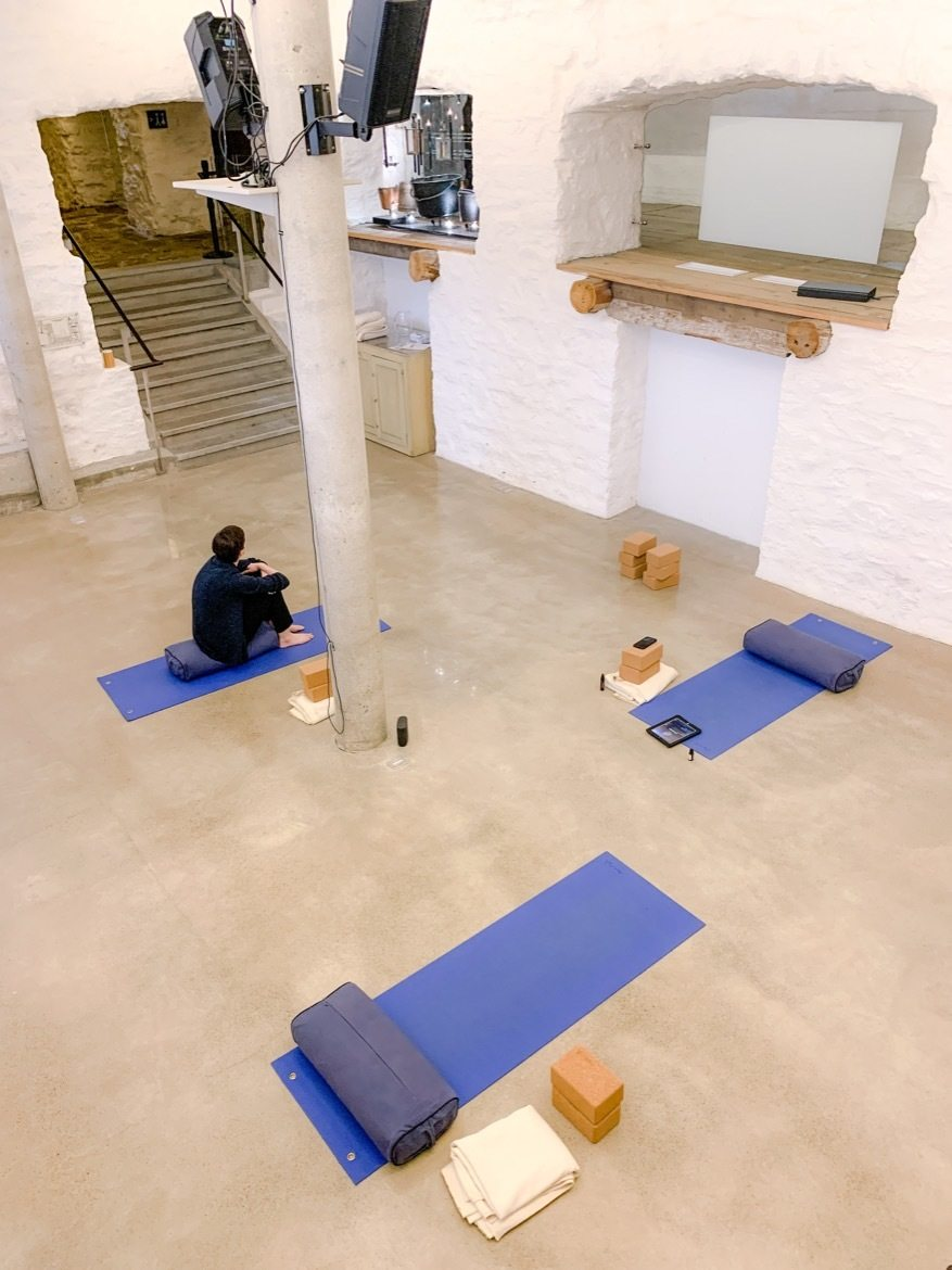 A yoga class at Monastere des Augustines