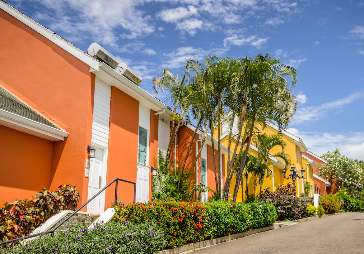 Colourful buildings at Sandals Regency La Toc.
