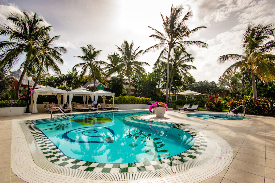 One of the quieter pools at Sandals Grande St. Lucian