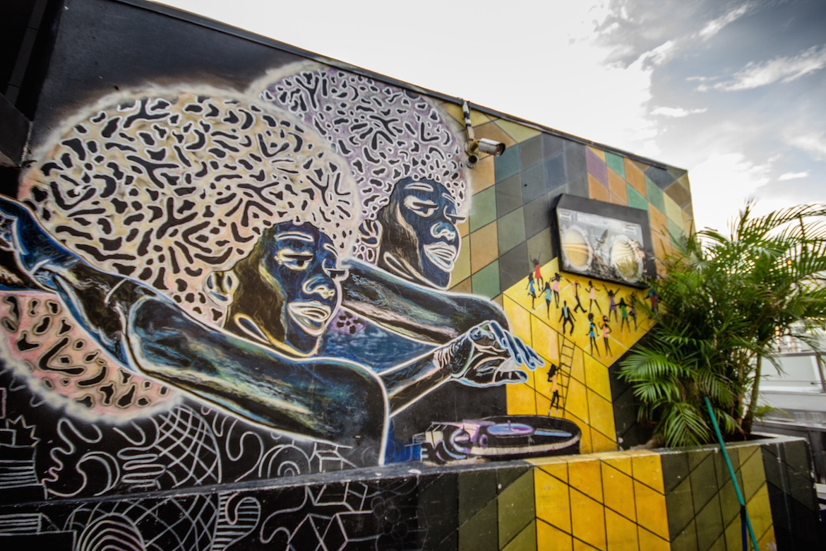 Art at Tantalo's rooftop bar in Panama City, Panama