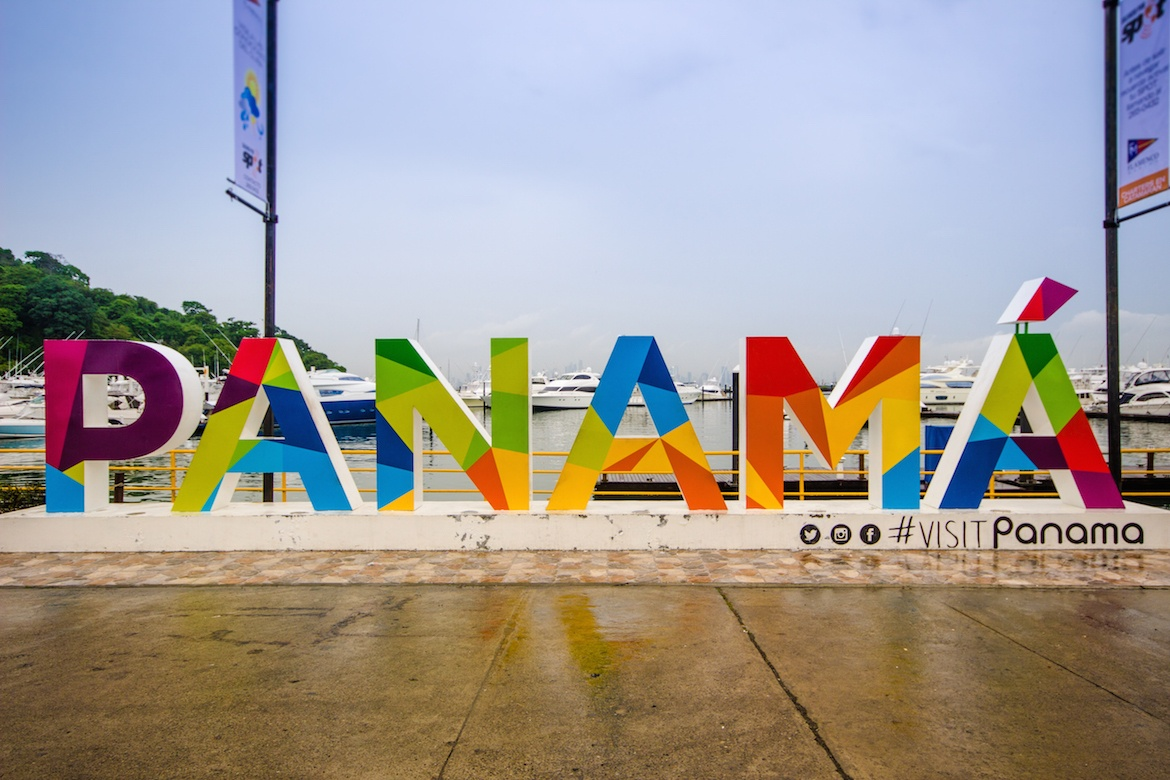 Panama sign along the Amador Causeway in Panama City, Panama