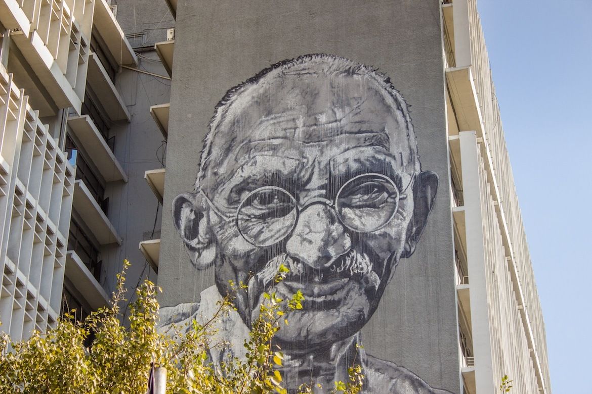 The Ghandi mural on Delhi Police Headquarters