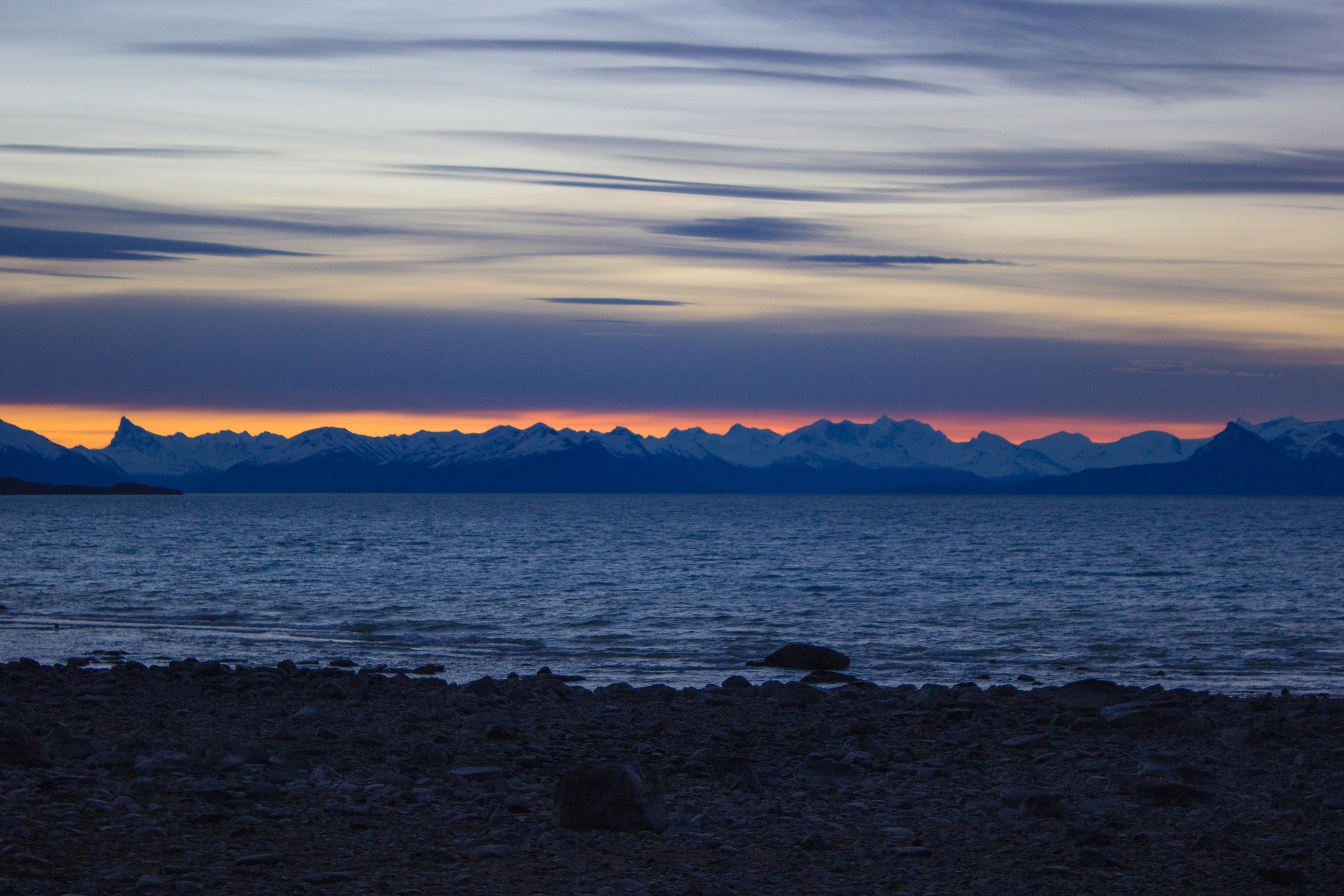 Sunset over Lago Argentino in El Calafate