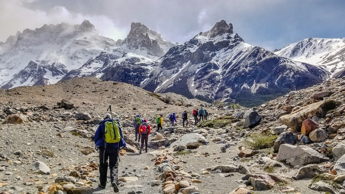 Hikers in Los Glaciares National Park in Patagonia, Argentina