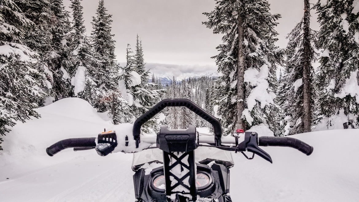 Snowmobiling in the Monashees in Revelstoke, Canada