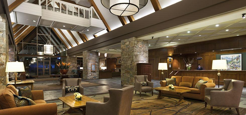 The grand lobby in the Fairmont Chateau Whistler. Supplied.
