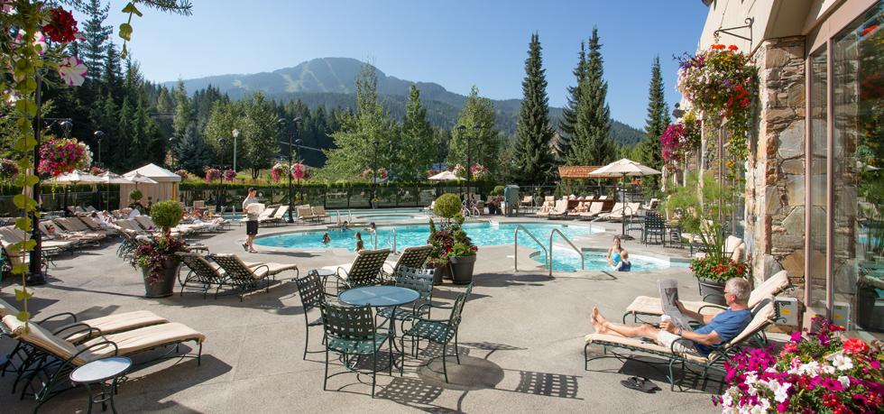 The outdoor pool at the Fairmont Chateau Whistler. Supplied.