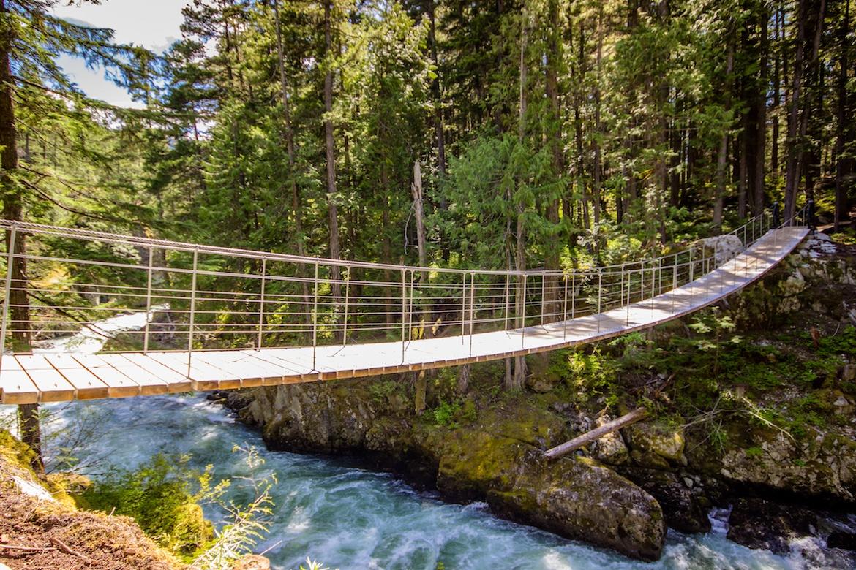 The suspension bridge along Whistler's Train Wreck Trail.