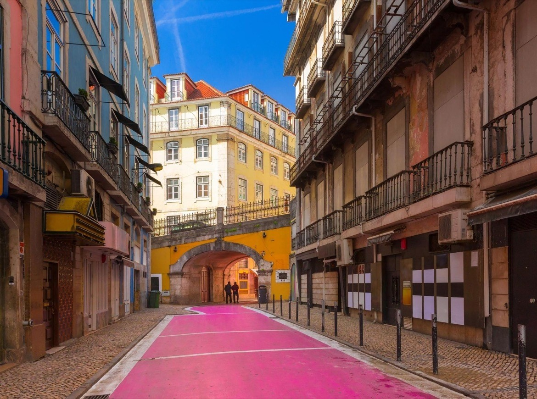 Pink Street in Lisbon Portugal